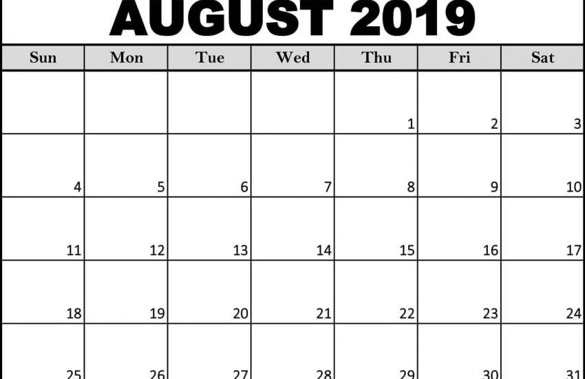 Printable August 2019 Calendar Word Template Free Printable