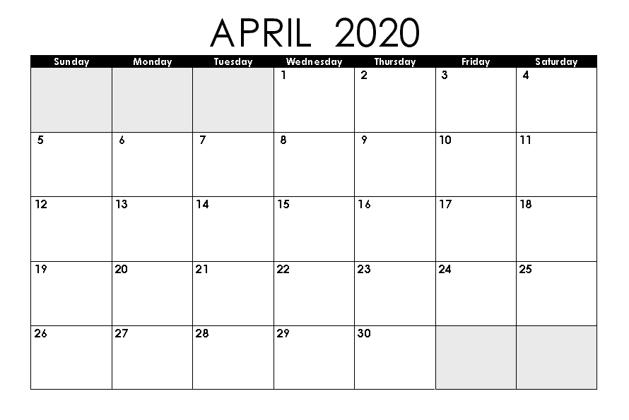 Free Printable April Calendar 2020 Editable Template In Pdf