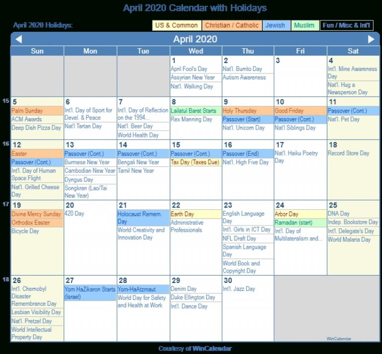April 2020 Calendar With Holidays - United States