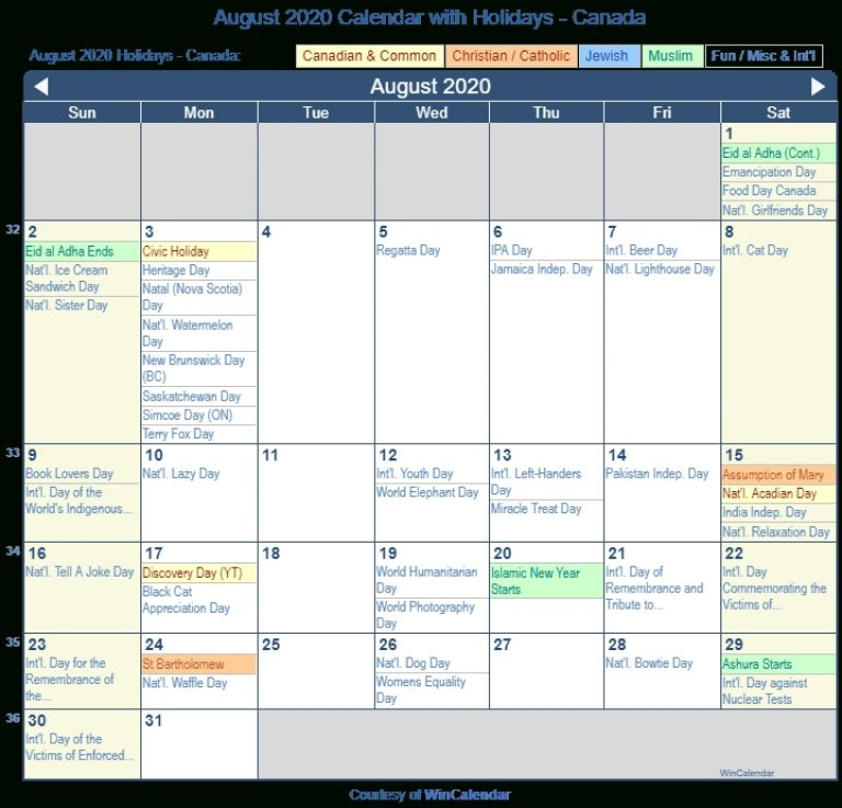 August 2020 Calendar With Holidays - Canada