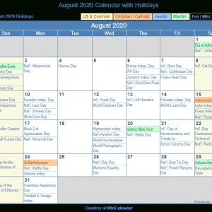 August 2020 Calendar With Holidays - United States