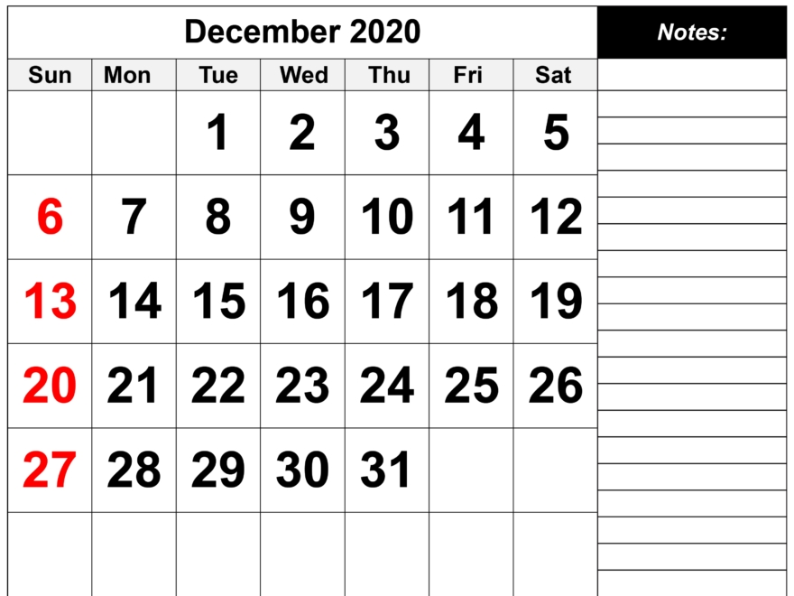 December 2020 Calendar Printable Office Planner With Notes