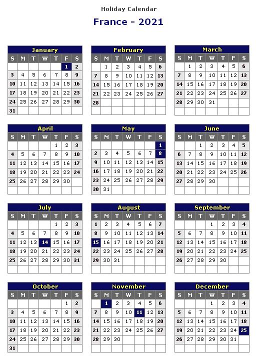 France 2021 Printable Holiday Calendar « Printable Hub