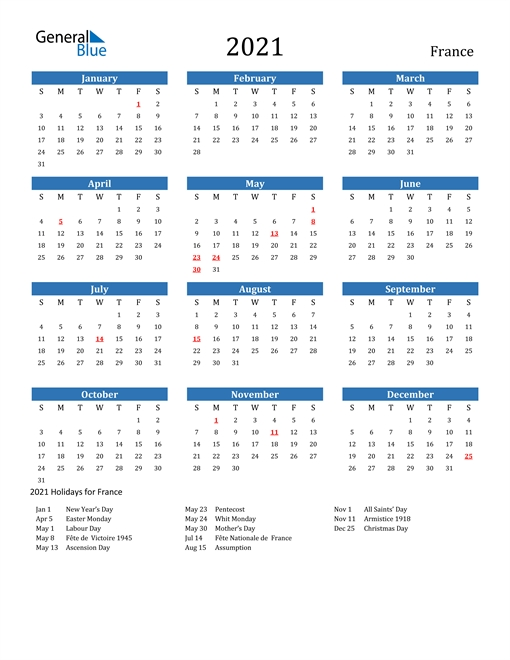 Free Printable Calendar In Pdf, Word And Excel - France