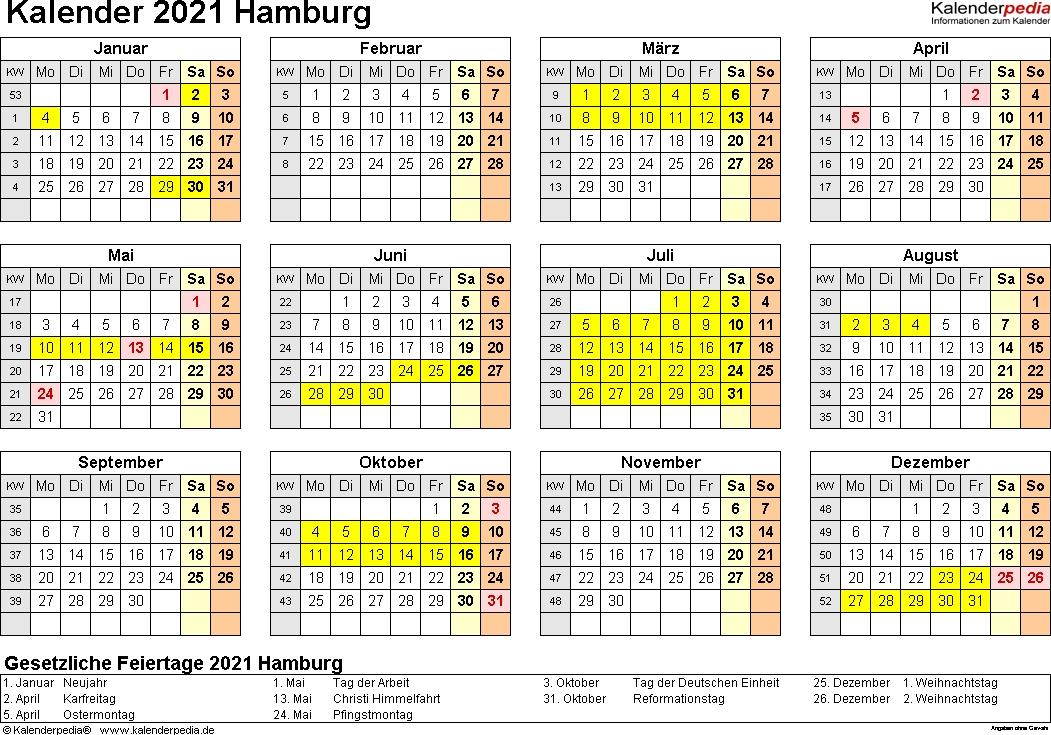 Kalender 2021 Hamburg: Ferien, Feiertage, Excel-Vorlagen ...
