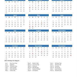 2021 Calendar - Belgium With Holidays