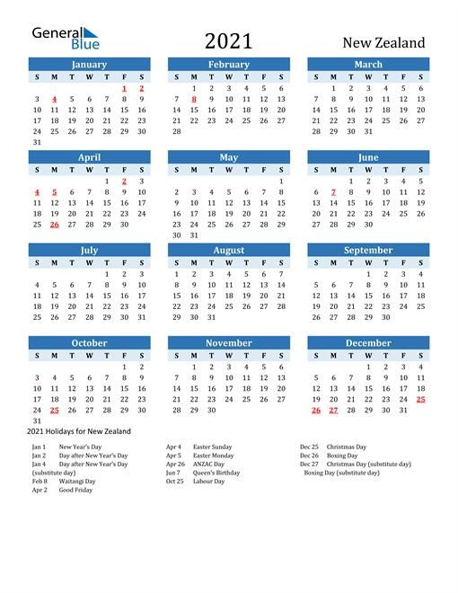 2021 Calendar - New Zealand With Holidays