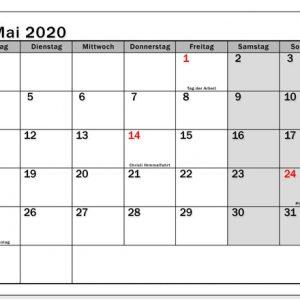 Drucken Kalender 2020 Mai | Celldwellertribe