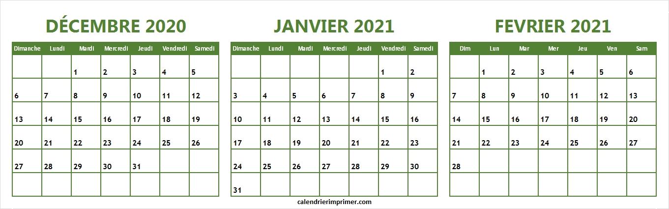 Imprimer Trois Mois Calendrier Décembre 2020 Janvier Fevrier