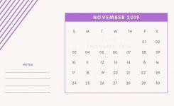 11 November Printable Mini Calendar 2019 Template With Notes