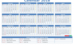 12 Month Calendar 2018 Printable With Holidays In Us 2018 2019
