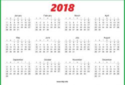 2018 One Page Calendar Free