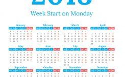 2018 Calendar Start On Monday Royalty Free Vector Image