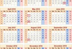 2018 Calendar With Bank Holidays Uk