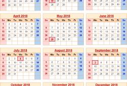 2018 Calendar Us Holidays Printable