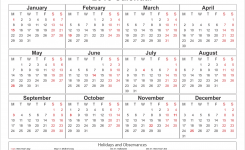 2018 Printable Yearly Calendar With Holidays Acurlunamediaco