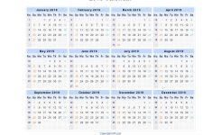 2019 Calendar Blank Printable Calendar Template In Pdf Word Excel