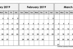 December January February March 2019 Calendar