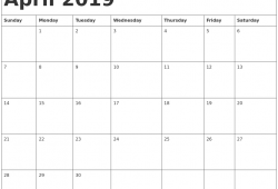 April 2019 Printable Calendar Template