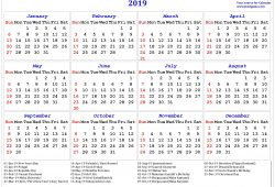 2019 January Calendar With Indian Holidays