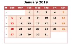 2019 Printable Calendar January With Week Numbers Free Printable