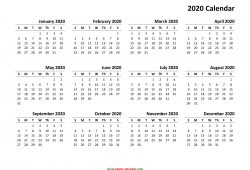 Yearly 2020 Calendar Printable