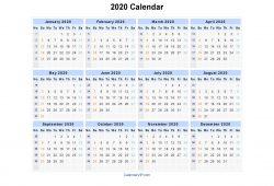 Printable Calendar 2020 Template