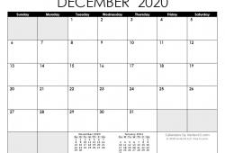 2020 December Calendar Printable