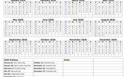 2020 Holiday Calendar Printable Free Download Printable Calendar