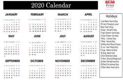 April 2020 Calendar Canada Bank Public Federal Holidays