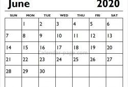 Sunday Start April June 2020 Calendar
