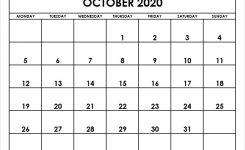 2020 October Calendar Templates October Month Template