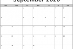2020 Printable Monthly Calendar