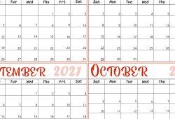 2021 Aug to Oct Calendar Free
