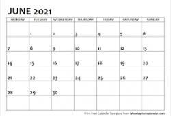 2021 June Calendar Simple