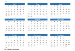 Calendar 2021 Australia Holidays