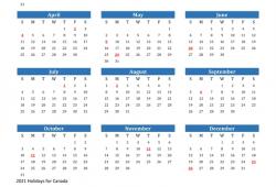 2021 Calendar Canada Free