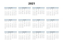 Yearly Calendar 2021 Free Printable