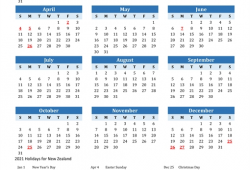 Calendar 2021 New Zealand
