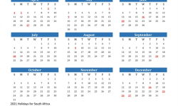 Calendar 2021 South Africa Holidays