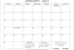 Calendar Template 2021 Printable