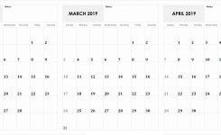 3 Month Calendar February March April 2019 Calendar Monthly
