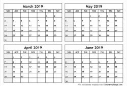 March To June 2019 Print Calendar