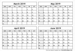 March To June 2019 Print Calendar