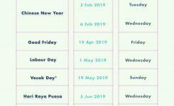 6 Long Weekends In Singapore In 2019 Bonus Calendar Cheatsheet