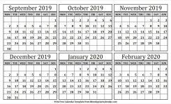 6 Month September 2019 February 2020 Calendar Blank Template