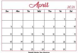 April Printable Calendar 2021