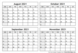 August to October 2021 Calendar Template