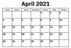 Calendar 2021 April Template