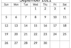 Calendar 2021 August September Blank